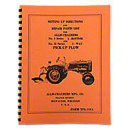 Allis Chalmers Moldboard Plow Setting Up & Repair Parts Manual