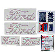 Ford 9N, 2N, 8N: Mylar Decal Set (10-Piece Warning And Miscellaneous Decals, including hood and fender decals)