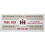 IH H, M: Tool Box Lid Decal