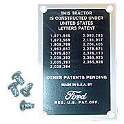 Patent Data Plate With Drive Screws