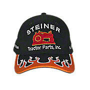 Black Hat with Orange Flame