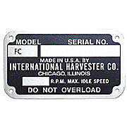 Early Style Serial Number Tag (1948-1949)