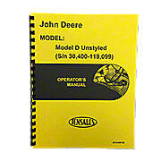 Operator And Parts Manual Unstyled JD D