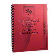 International 154, 184, 185 Cub Loboy Parts Manual Reprint