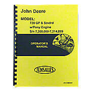 Operators Manual Reprint: JD 720 Diesel Pony Start Early Serial Numbers