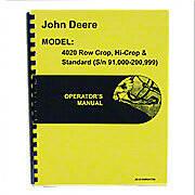Operators Manual Reprint: JD 4020 Standard and Rowcrop; gas, LP, diesel